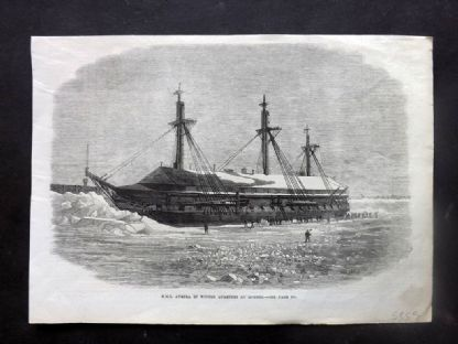 ILN C1860 Antique Print. H.M.S. Aurora in Winter Quaries at Quebec, Canada